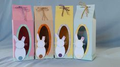 Made to order Easter gift boxes. Base box is a large milk carton with oval window available from SARZCARDZ.
