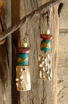 Earthy Tribal Krobo Antler Earrings by HuntandGatherStyleDS