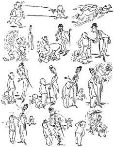 Education. Vintage cartoons by the Danish artist Herluf Bidstrup.