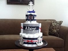 Nautical Anchor Diaper Cake Baby Shower by bearbottomdiapercakes, $45.00