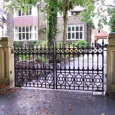 Stewart Driveway Gate - Heritage Cast Iron USA. Available in 10' and 12' wide configurations. Can be fully automated Now on sale and in stock!