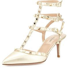 Valentino Rockstud Metallic Leather Mid-Heel Pump ($1,105) ❤ liked on Polyvore featuring shoes, pumps, heels, sandals, platino, pointy-toe pumps, slingback shoes, pointed-toe pumps, ankle strap pumps and valentino pumps