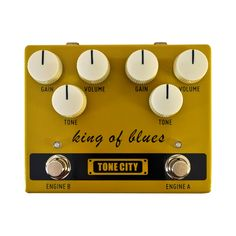 The King of Blues from Tone City is a dual channel overdrive pedal that is dynamic and has excellent clean up for each channel. On Channel A, get plump middle frequency with outstanding edge, and on C