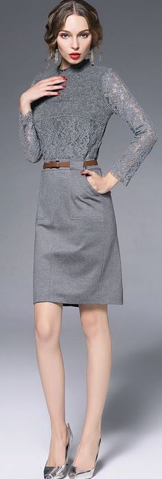 Grey Belted Lace Splicing Dress