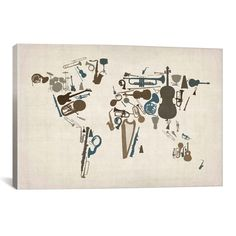 iCanvas Michael Thompsett Musical Instruments Map of the╩World Canvas Print Wall Art