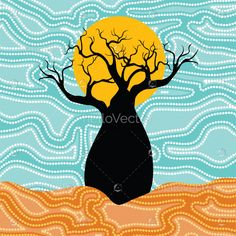 Boab (Baobab) Tree Vector Painting. #baobab#aboriginal#indigenous#art Aboriginal Dot Art, Baobab Tree, Haida Art, Africa Art, Tree Illustration, Indigenous Art, Dot Painting, Native Art, Tree Art