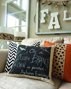 DIY Chalkboard Pillow for Fall by thehappyhousie for uncommon designs