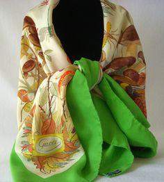 GUCCI Vintage 70's Accornero Fall Flora Insects by GSaleHunter, $150.00 Vintage Gucci, Vintage 70s, Vintage Fashion, Fall Accessories, Vintage Accessories, Flora Vintage, Gucci Scarf, Flora Design, Vintage Scarf