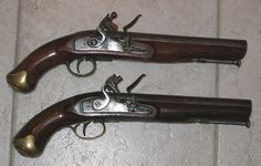 Antique Firearms Pair of volunteer heavy dragoon musket bore Flintlocks Percussion Cap, Black Powder Guns, Flintlock Pistol, Primitive Survival, Seven Years' War, Tabletop Rpg, Military Weapons, Mountain Man, Revolver