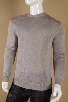 $795 Ermenegildo Zegna Silk Linen Sweater size 54  XL Gray White Crewneck Shirt #ErmenegildoZegna #Crewneck