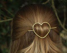 Rustic copper hair barrette wire hair slide ponytail by Kapelika