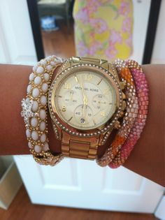 Love layering the bracelets with the chunky watch