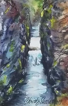 "Landscapes – Christy Sheeler Art: ""As Water Finds Its Way"" 3.5""x5"" Original Watercolor Artwork 2019"