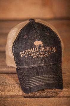 Rugged denim and khaki trucker | baseball | guide hat. Nylon mesh back. Heavy wash, contrast stitching.