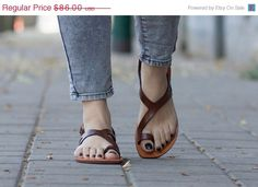 Sale 20% OFF Brown Leather SandalsAsymmetric Sandals by BangiShop