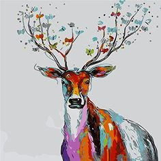 YEESAM ART New Release Paint by Number Kits for Adults Kids  Multicolor Deer 16x20 inch Linen Canvas Without Wooden Frame -- You can find more details by visiting the image link.
