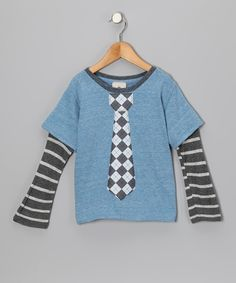 Take a look at this Light Blue & Gray Argyle Tie Layered Tee - Toddler & Boys on zulily today!