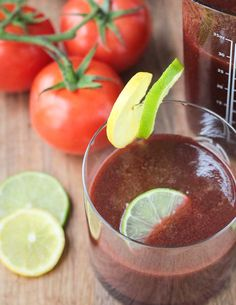 Spicy Tomato Juice - the perfect balance of earthy and sweet with a subtle kick of spice. Tomato juice you will actually want to drink! Healthy Juice Recipes, Healthy Juices, Smoothie Recipes, Vegan Recipes, Free Recipes, Juice Smoothie, Fruit Smoothies, Healthy Smoothies, Healthy Drinks