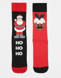 ASOS 2 Pack Socks With Fluffy Christmas Design