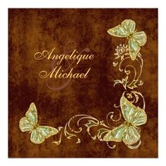 Brown green gold country wedding custom invitations