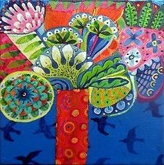 Original acrylic painting on canvas - colourful, garden, floral, modern, flowers
