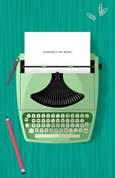 Green typewriter illustration. Love the treatment in the shadows. Nice color as well.