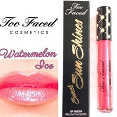 Too Faced Sweet Sun Shines Lip Gloss Too Faced Sweet Sun Shines Lipgloss in the color: Watermelon Ice. French your lips in a juicy burst of sunshine. This get noticed lightweight gloss captures light for ultra impact that's never sticky. Pearl Particles provide light reflecting shimmer. Formula prevents water loss for intense hydration. Lightweight, non-sticky gel formula. BNIB. Never used or swatched. 100% Authentic. No Trades, No PP. Price Firm. Receive a discount if you bundle all 3…