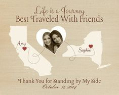 1 Year Wedding Anniversary Gift From Maid Of Honor : Custom Maid of Honor Gift, Thank You for Standing by My Side Quote ...