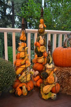 For something different on this porch in Summit, NJ, we filled conical plant trellis with small pumpkins and gourds! #fall #pumpkins #seasonalenchancements