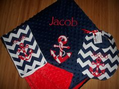 Anchor Gift Set  Custom Monogrammed Baby Minky by peepsboutique, $58.50