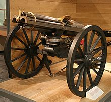 The Gatling gun is one of the best known early rapid-fire weapons and a forerunner of the modern machine gun. It is well known for its use by the Union forces during the American Civil War in the 1860s, which was the first time it was employed in combat. Later it was also famously used in the assault on San Juan Hill during the Spanish-American War.[1]