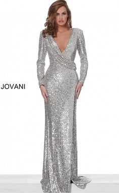 Jovani 04886 fully Sequin sexy low v neckline prom dress with a fitted bodice and long sleeves and high thigh slit on the side. Prom Dresses Jovani, V Neck Prom Dresses, Event Dresses, Long Dresses, Silver Evening Gowns, Evening Gowns With Sleeves, Long Sequin Dress, Sequin Gown, Sequin Fabric