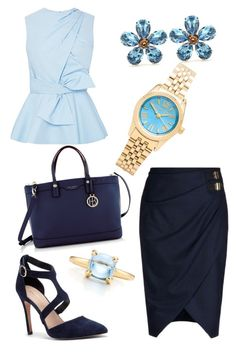 """""""Off to Work in Blues"""" by colourmepretti ❤ liked on Polyvore featuring Altuzarra, Prabal Gurung, Sole Society, Henri Bendel, Michael Kors, Dolce&Gabbana and Tiffany & Co."""