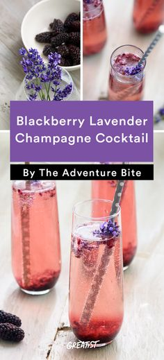 Blackberry Lavender Champagne Cocktail Drinks 9 Champagne Cocktails That One-Up Boring Mimosas Beste Cocktails, Fun Cocktails, Summer Drinks, Fun Drinks, Cocktail Recipes, Alcoholic Drinks, Beverages, Cocktail Drinks, Mojito