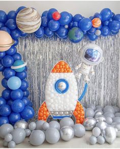 Who else is ready to Blast off? This space collection from Qualatex Balloons really has me ? It's so cute and the astronaut balloon paired perfectly with the NEW Rocket Balloon Mosaic™️! 2nd Birthday Party Themes, 1st Boy Birthday, Birthday Balloons, First Birthday Parties, Birthday Ideas, Rocket Ship Party, Space Baby Shower, Deco Ballon, Astronaut Party