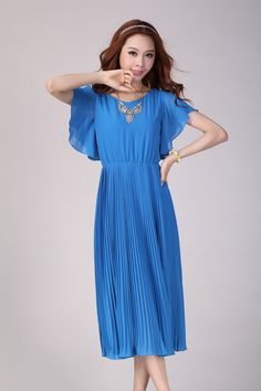 cef1d7f36ce7 Blue Slim Tall Women Chiffon Large Long Dress