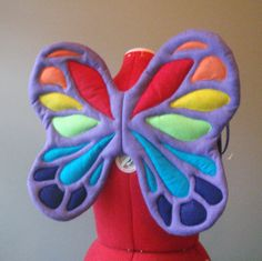 Rainbow Fairy Wings with Purple base. Felt, No Wire. Bright Butterfly. Two sizes. Original design.