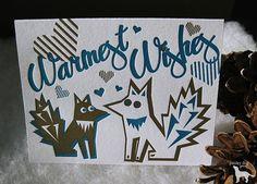 Foxy Warmest Wishes - Letterpress Holiday Greeting Card Set - Christmas, New Years, #paisleydogpress