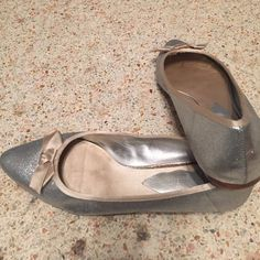 Silver Nine West flats Silver sparkle nine west size 7 1/2 flats with beige satin bow Nine West Shoes Flats & Loafers