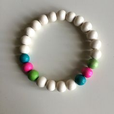 White, Neon Green Pink & Electric Teal - 8mm Round Wood Beads