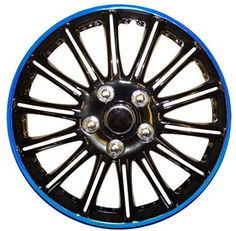 """From 21.99 Xtremeauto 14"""" Black With Blue Pin Stripe Wheel Car Hub Trims Cover Set Of 4 Complete With Ties Valve Caps & Sticker"""
