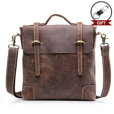 7f0915ca40 Price tracker and history of teemzone - Men s Vintage Crazy Horse Leather  Genuine Leather Business Case Briefcase Messenger Shoulder Bag