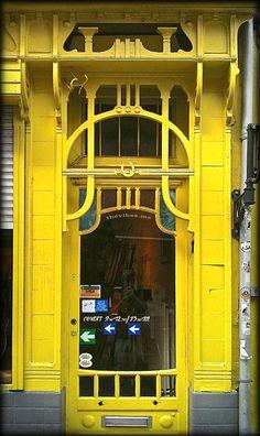 Beautiful architecture on this Art Nouveau door in Brussels, Belgium.