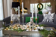 Day 2 of the 12 Days of Christmas Tour of Homes! Amanda set out to create simplistic glam holiday decor using what she had. Her decor was featured in Christmas Ideas, congrats girl! Silver Christmas Decorations, Christmas Candles, Gold Ornaments, 12 Days Of Christmas, Christmas Holidays, Merry Christmas, Christmas Houses, Christmas Ideas, Driven By Decor