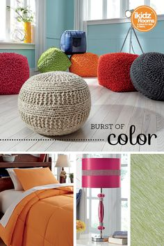 #iKidzRooms - #BedroomColors - Add a burst of summertime color with bright and fun poufs, bedding, lamps and rugs! It's so easy to add bright accessories to make your bedroom your own! iKidz Rooms® - Kids, Teen and Youth Bedroom Furniture and Accessories