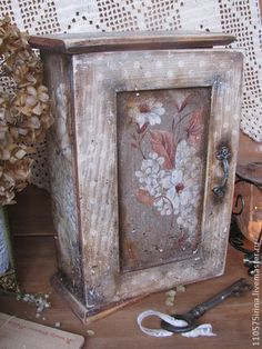 Upcycled Furniture, Painted Furniture, Key Cabinet, Key Box, House Keys, Decoupage Box, Altered Boxes, Painted Boxes, Quilted Bag