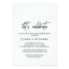 Whimsical Calligraphy Let's Celebrate Card - invitations custom unique diy personalize occasions