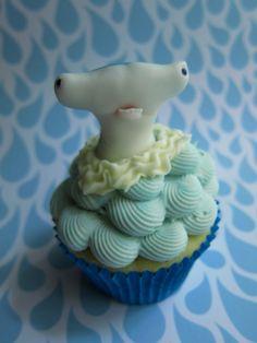 Scary Sharks Cupcake Toppers ( 12 Sharks). $48.00, via Etsy.