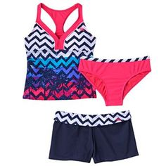 8f84c36aa4 ZeroXposur Laguna Girl Chevron 3-pc. Tankini Swimsuit Set - Girls 7-16