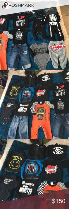 Large lot baby punk clothes Mixed lot of baby/infant clothes! These are all my favorite items I had kept that I have decided to part with ! 18 items! 😻😻😻 super cute baby boy stuff ! No low ballers ! Mix Other